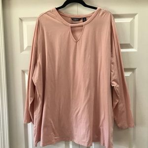 Lands End Long Sleeve Tee with Keyhole Neckline 3X